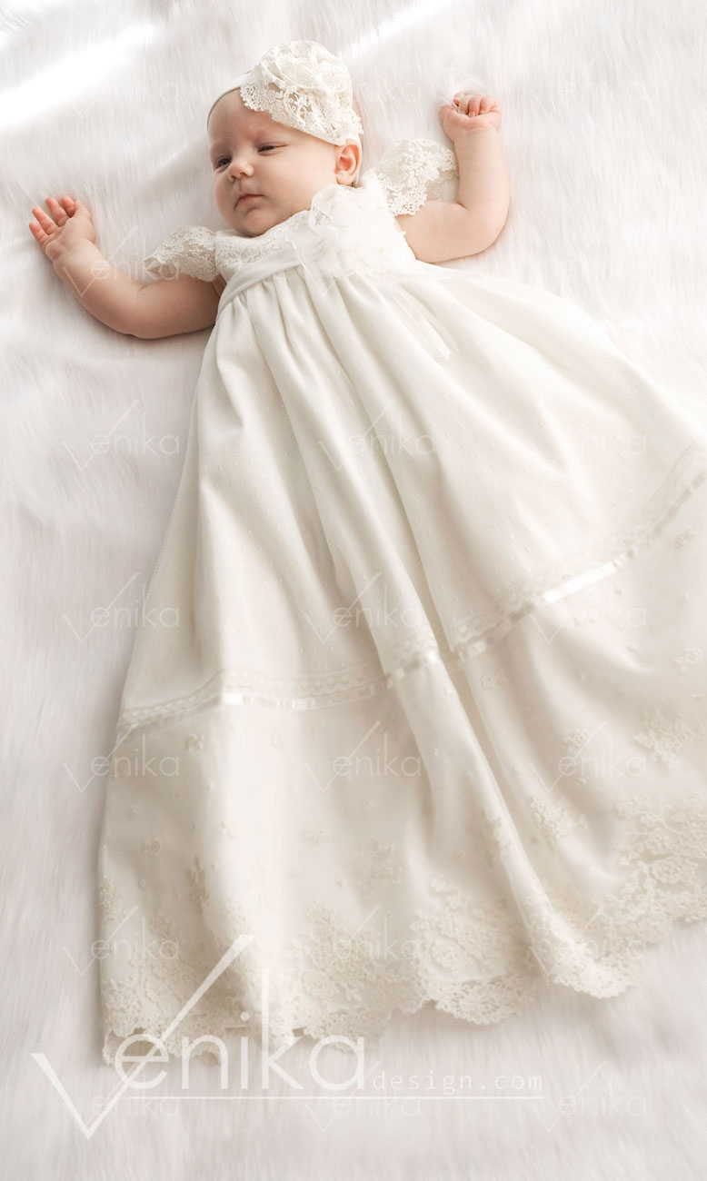Long christening gowns with cotton lace and of the best cotton ...