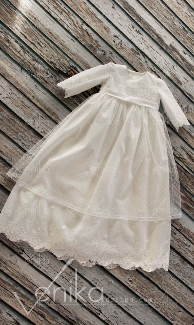Baptism dress with long slever