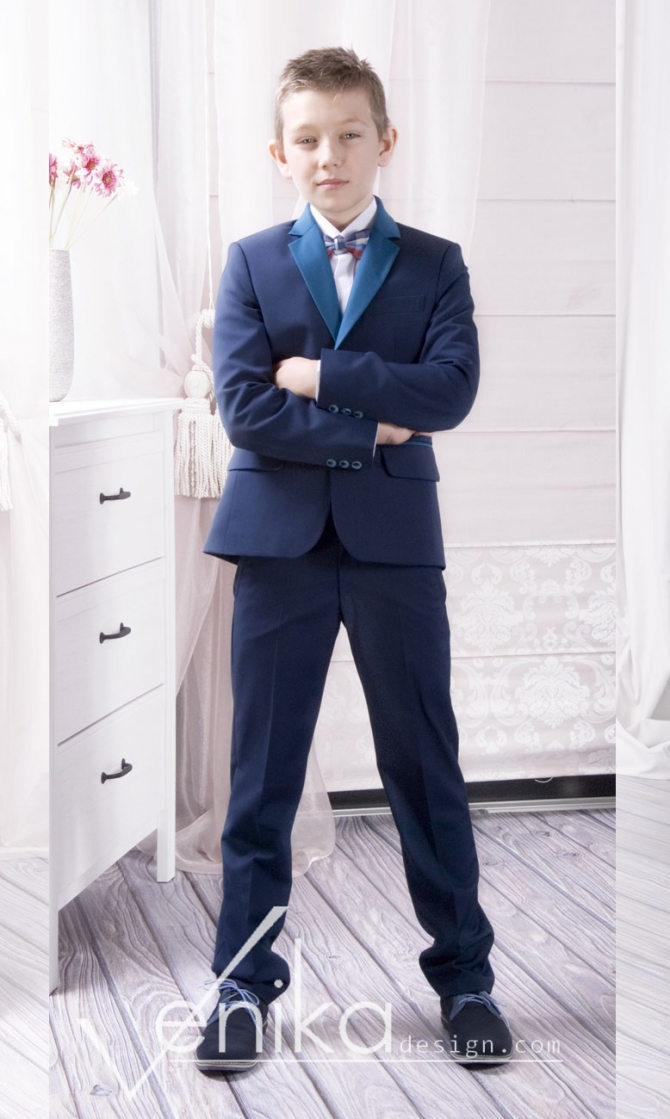 Communion suit with navy blue jacket and turquoise trousers