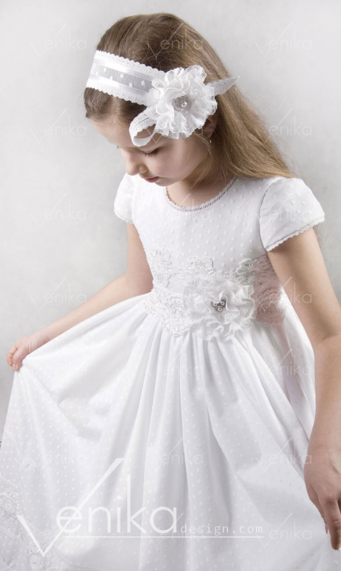 Communion dress with lace and dots