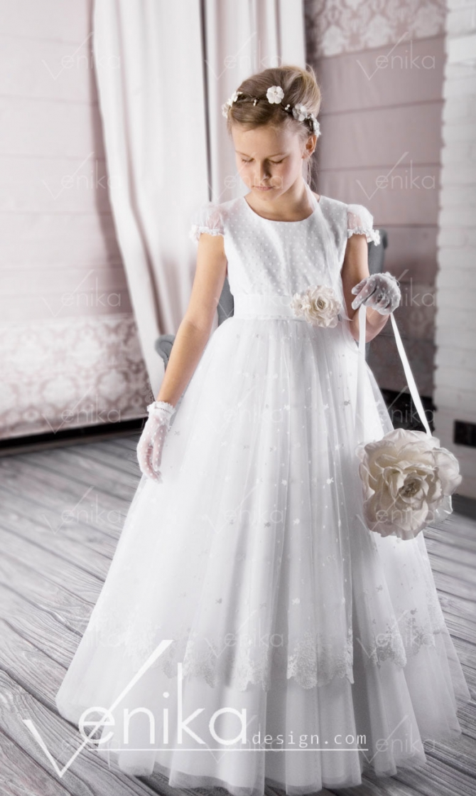 Communion dress with lace
