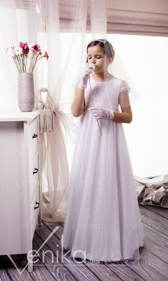 Delicate communion  dress in empir-style