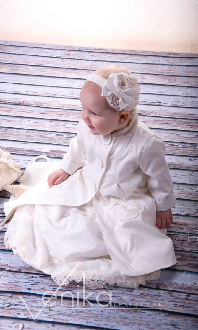 Christening blazer with bow and lace