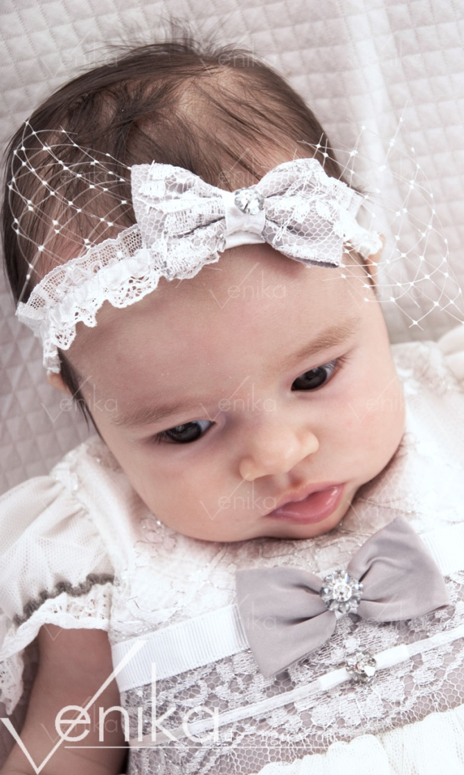 Headband for baptism with bow and veil