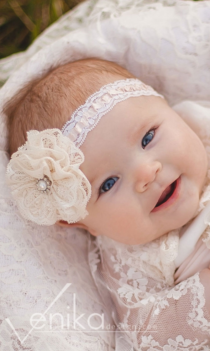Straight headband for christening girl with lace flower